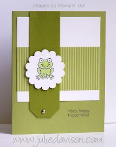Stampin' Up! Turtle & Co. (RMHC stamp set) card by Julie Davison, http://juliedavison.com. Find out how to make long tags: http://juliedavison.blogspot.com/2012/05/turtle-co-hoppy-hello-frog-card.html