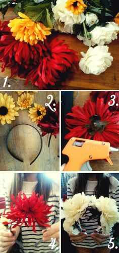 another floral headpiece  -headband, gluegun & fake flowers..  so presh yes?