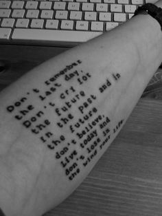 """this font for my 'to live will be an awfully big adventure"""" tat"""