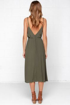 Cute Olive Green Dress - Sleeveless Dress - Midi Dress - $57.00
