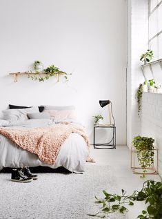 Wonderful modern bedroom with plants