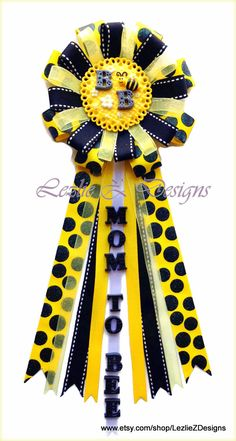 Bumble Bee Baby Shower Corsage Mommy to Be Pin - Honey Bee Theme Mom to Bee Badge Clay Favor Black Yellow Polka Dot Ribbon Grandma Capia Mum - pinned by pin4etsy.com