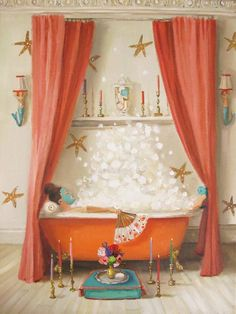 """Princess Edwina Takes A Bath."" by Janet Hill Janet Hill, Art Deco Bathroom, Master Bathroom, Happy Mother's Day Card, Bath Art, Bathroom Pictures, Fine Art Paper, Fine Art Prints, Large Prints"