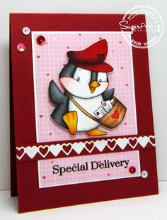 SugarPea Designs - card designed by Anita Madden Happy Mail stamp set SugarCuts - Heart Border die