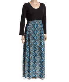 Love this Black & Blue Geometric Tie-Waist Maxi Dress - Plus by GLAM on #zulily! #zulilyfinds