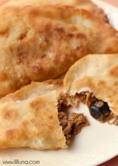Our favorite Mexican dish - Beef Empandas in Red Chili sauce { lilluna.com }
