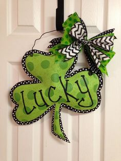 Hand Painted St. Patrick's Day Shamrock Stuffed Burlap Door Hanger