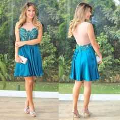 Illusion Prom Dresses with Floral Lace, Teal Prom