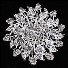 Women's+Alloy+Brooches+&+Pins+With+Rhinestones/Crystal/+Diamond+For+Bridal+Flower+–+USD+$+5.99
