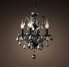 ERIKA'S OFFICE // 19th C. Rococo Iron & Smoke Crystal Round Chandelier 13""