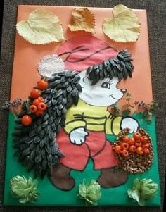 Baby Crafts, Diy And Crafts, Diy For Kids, Crafts For Kids, Fall Harvest Decorations, Kites Craft, Seed Art, Autumn Art, Kids Corner