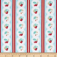 Penny Rose Shabby Strawberry Stripe Blue from @fabricdotcom  Designed by Rebecca Baer for Penny Rose, this cotton print is perfect for quilting, apparel and home decor accents. Colors include shades of blue, red, yellow and green.