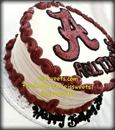 A vanilla/strawberry marble cake, frosted with vanilla butter cream frosting, and decorated with a butter cream University of Alabama logo.  #ejssweets #customcakes #cakesinmcdonough #buttercreamfrosting #vanillacake #strawberryswirlcake #strawberrycake #marblecake #alabama #alabamacake #rolltide