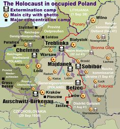 After Germany invades Poland, Poland holds a great deal of concentration camps. This map shows the locations of extermination camps, ghettos, and major concentration camps in Poland, aside from the many smaller camps that may have also existed. Majdanek Concentration Camp, Poland Map, Poland Travel, Jewish Ghetto, Warsaw Ghetto, Holocaust Survivors, Holocaust Unit, Holocaust Memorial, Museum