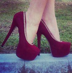 shoes burgundy heels chain burgundy shoes velvet shoes high heels sexy pumps burgundy gold rim