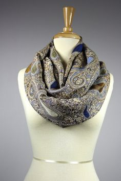 Blue / icy blue  paisley Infinity Scarf Floral by ScarfObsession, $29.00