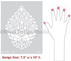 Indian paisley wall stencil, royal design studio