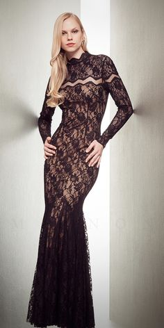 Mignon VM1323 Lace Long Sleeve Dress