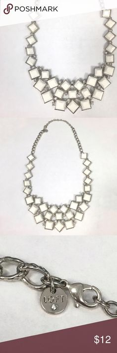 White/Silver LOFT Statement Bib Necklace Silver hardware with white squares and small rhinestone accents. Adjustable chain. Only worn a couple times. LOFT Jewelry Necklaces