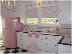 A Kitchen with Splashes of Pink///though I wouldn't do the fridge, I do like many of the other touches