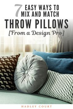 We are wild about throw pillows. We love the way throw pillows can pull your room together. Whether you are looking for ideas for your living room or bedrooms we have some tips for you. Keep reading as we share seven easy ways to mix and match throw pillows from a design pro. Hadley Court Interior Design Blog by Central Texas Interior Designer, Leslie Hendrix Wood. Colorful Throw Pillows, White Pillows, Bedroom Workspace, Living Room Trends, Living Rooms, Geometric Pillow, Best Interior Design, Mix N Match, Timeless Design