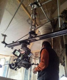 """6' slider rig above a staircase..by """"The Mob"""" Grips in Hungary via:grip rigs"""