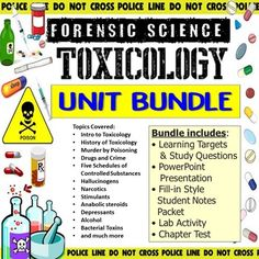 This bundle includes all products from my Forensic Science Toxicology Unit.This bundle includes:• Learning Targets and Study Questions• PowerPoint Presentation• Fill-in Style Notes Handouts• Drug Toxicology Lab Activity• Review Worksheet• Chapter Test*Vocabulary Assignment is sold separately in the ... Learning Targets, Forensic Science, Forensics, Vocabulary, Worksheets, Drugs, Fill, Lab, Presentation