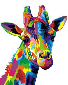 ifymei Paint by Number Kits Paintworks DIY Oil Painting for Kids and Adults Beginner,Painting on Canvas Color Deer(Color Giraffe) Giraffe Decor, Giraffe Art, Giraffe Head, Giraffe Pattern, Colorful Animal Paintings, Colorful Animals, Painting For Kids, Diy Painting, Beginner Painting