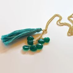 Green Onyx Gemstones and Green Tassel Necklace by MickeyandChicken