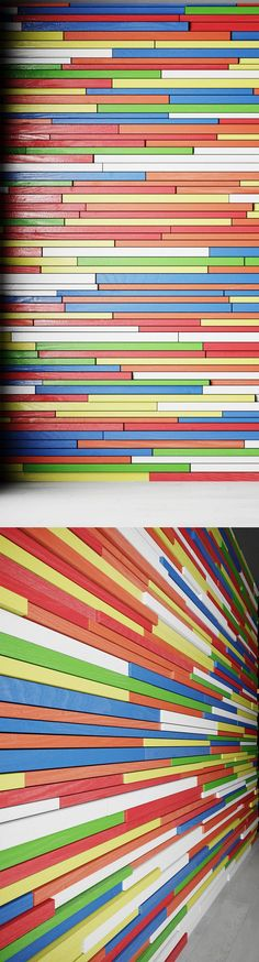 Wall of colored wooden slats by rnax on @creativemarket
