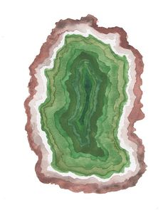 Green Agate Geode Slice Watercolor Painting Art Print Geode