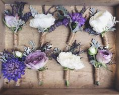 Love this! purple boutonnieres. #Scabiosa, #Ranunculus, #Dusty Miller, #Boutonnière, #Flowers, #Rustic, #Summer, #Spring, #Lavender, #Purple, #Florists & Flowers