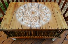"A beautiful up-cycled coffee table made from a vintage ""chicken cage""."
