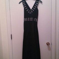 Long black silver studded detail maxi dress V-neck and comfortable Basic Universal Dresses Maxi
