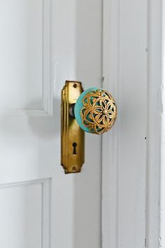 Custom colored doorknobs in every room