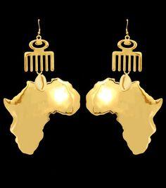 big africa map earrings