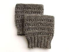 Hand Knit Dark Gray Boot Openwork Cuffs  Boot Toppers by milleta, €14.00