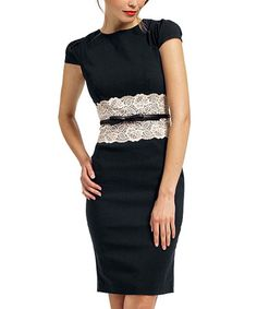 Another great find on #zulily! Black & Cream Lace-Insert Katrina Dress - Women & Plus #zulilyfinds