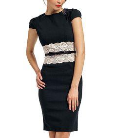Another great find on #zulily! Black & Cream Lace-Insert Katrina Dress - Women & Plus #zulilyfinds