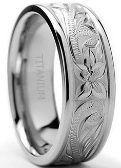 8MM Titanium Ring Wedding Band With Engraved Floral Design Sizes 7 to 13