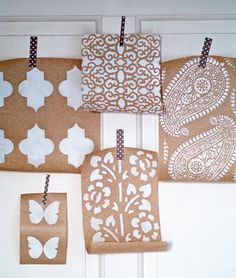 DIY stenciled brown wrapping paper