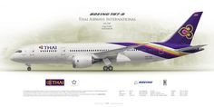 Boeing 787-8 Thai Airways International HS-TQF | Airliner Profile Art Prints | www.aviaposter.com | #airliners #aviation #jetliner #airplane #pilot #aviationlovers #avgeek #jet #sideplane #airport #dreamliner