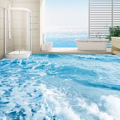 17.21$  Watch now - http://ali25f.shopchina.info/go.php?t=32775489029 - Custom 3D Floor Mural Wallpaper Sea Water Waves Floor Sticker Paintings Wear Non-slip Self-adhesive PVC Waterproof Floor Murals 17.21$ #magazineonlinewebsite