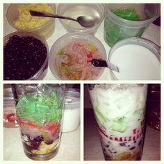 Vietnamese 3 color dessert. Che ba mau.  Mung bean, red bean, green pandon agar agar jelly with coconut milk and sugar syrup.