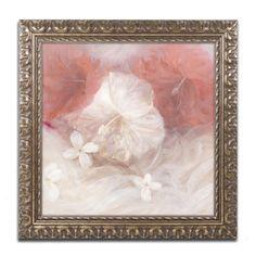 Li Bo 'Hibiscus IV' Antiqued Wood Framed Canvas Art