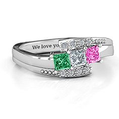 Triple Princess Stone Mother's Ring with Accents #jewlr