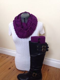 Boot cuff set with infinity scarf - Dark orchid / purple with black buttons by GrindleHillFineGoods on Etsy https://www.etsy.com/listing/217167402/boot-cuff-set-with-infinity-scarf-dark