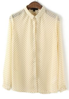 Beige Polka Dot Print Long Sleeve Chiffon Blouse