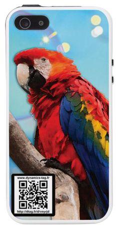 Coque de portable IPhone 5/5s associée à une carte de visite virtuelle via un qrcode : illustration : Perroquet multicolore