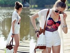 Secondhand Shorts, Secondhand Top, Secondhand Cape, Sabrina Tach Bag, Ray Ban Sunglasses